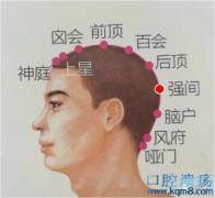 强间穴的准确位置图功效与作用:清头散风、镇静安神,治疗头痛,目眩,口歪,痫证,失眠